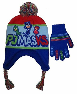 Disney Boys' PJ Masks Winter Scandinavian Hat with Pompom and Glove Set (3-7)