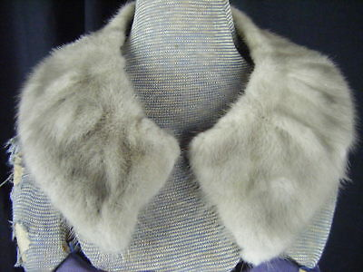 "Vintage Grey Mink Fur Collar with Satin Lined- 22.5"" long(F6)"