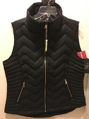 Calvin Klein Womens Chevron Quilted Down Vest New with Tags XL Black