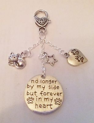 Silver Keyring Handbag No Longer By My Side Forever In My Heart Cat Star Charms