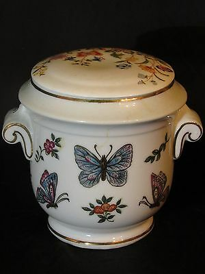 """Porcelain Oriental Butterfly Floral Urn 4.75"""" tall Lidded Container Gold Accents"""