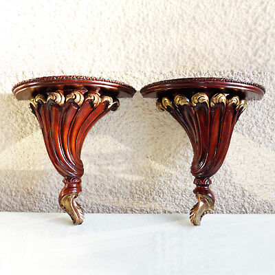 "Set Of Two 12.5"" Redwood Wall Shelf Sconce Vintage Hand Carved"