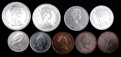 Canada Lot Of 9 Circulated Coins Elizabeth Ii Various Denominations And Years