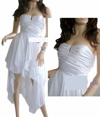 HI LOW WEDDING DRESS -  White Chiffon Bridal Bridesmaid Evening Formal Party