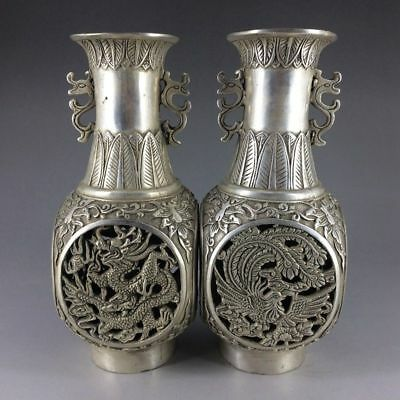 Chinese antique pure copper hand-carved longfeng blank a pair of vases
