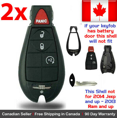 2x New Replacement Keyless Remote Key Fob Case For Dodge Caravan RAM Shell Only
