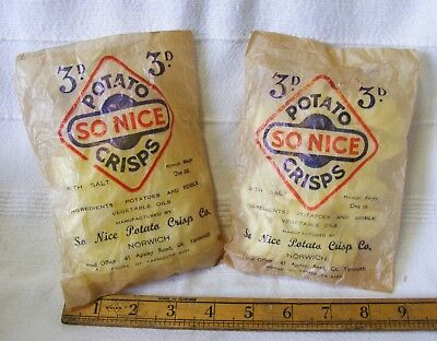 2 x Original 'SO NICE' Potato Crisps Packets / Paper Bags With Original Contents