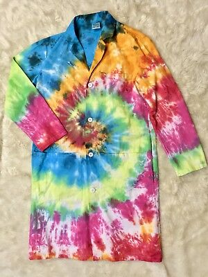 Fashion Seal Healthcare Tie Dye Button Front Rainbow Painters Lab Coat Sz S