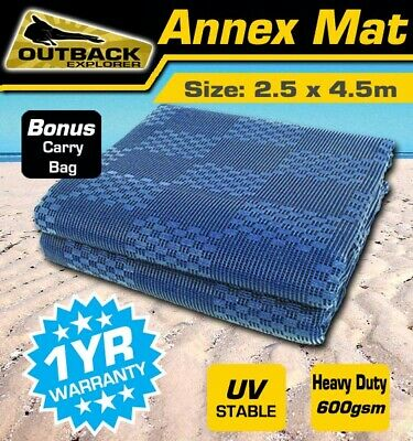 OUTBACK 4.5m x 2.5 Blue Annex Matting Floor Grass Carpet Camper Trailer caravan