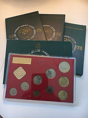Russia Soviet Union USSR Leningrad Mint 9 Coin Set With Box (1974 and 1975)