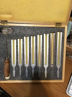 Tuning Fork In Wood Box set of 8 With Hammer