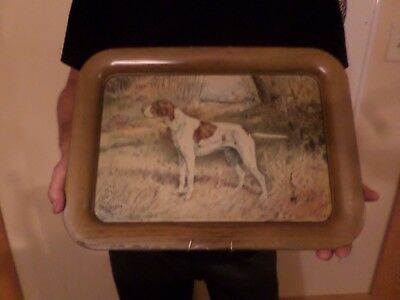 vintage hunting dog tray