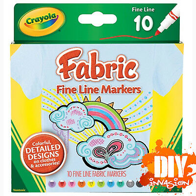 Crayola NEW Fabric Fine Line Markers 10 Pk Colourful Designs On Accessories Arts