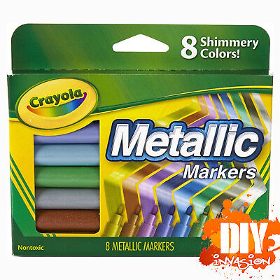 Crayola NEW Metallic Markers 8 Radiant Rich & Shinny Colours Tones Drawing Arts