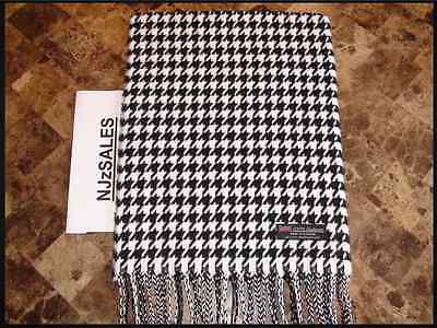 2 PLY CASHMERE Long Scarf BLACK WHITE HOUNDSTOOTH Warm SCOTLAND Winter Wool Men