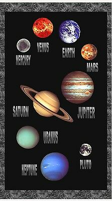 Cosmic Space Quilt Panel * Solar System Planets * New * Free Post *