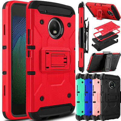For Motorola Moto G5 Plus Phone Case Shockproof Holster Clip Stand Armor Cover