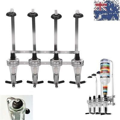 Rotary Wall Mounted 4 Bottle Dispenser Stand Wine Spirits Steel Bar Pub Butler