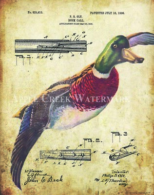 Duck Hunting Patent Art Print Motivational Posters Vintage Decoys Calls PAT456