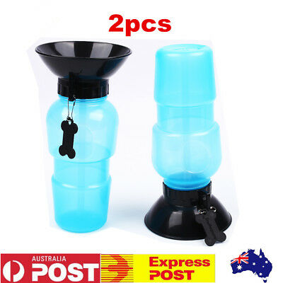 2 X Auto Pet Drinking Mug Water Cup Kettle Feeder Bottle Dog Outdoor Travel