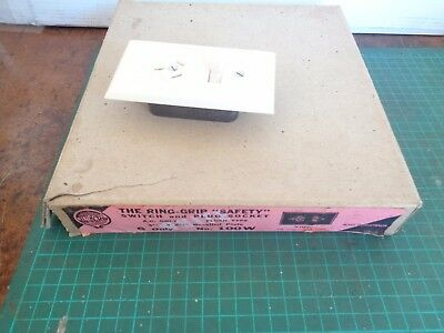 Vintage electrical fittings NOS  white power points & switch, original box