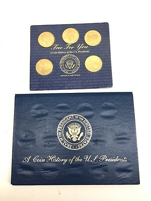 A Coin History Of The U.S. United States Presidents 5 Brass Coins sealed