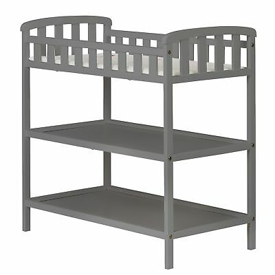 Emily Baby Changing Table 2 Shelves Solid Wood Minimalist Portable Storage Grey
