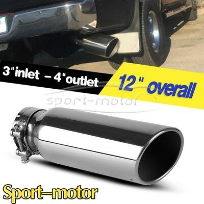 "3"" Inlet 4"" Outlet 12 inch Long SS Rolled End Angle Cut Exhaust Tip Tail Pipe"