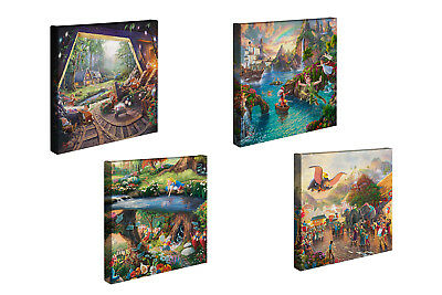 Thomas Kinkade Disney Set of 2 or Set of 4 - 14 x 14 Gallery Wrapped Canvases