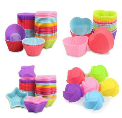 12x Soft Silicone Cake Muffin Chocolate Cupcake Bakeware Baking Cup Liners Mold