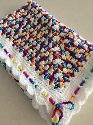 Handmade Crochet Baby Blanket  GIRL pram, car or Home.Retro