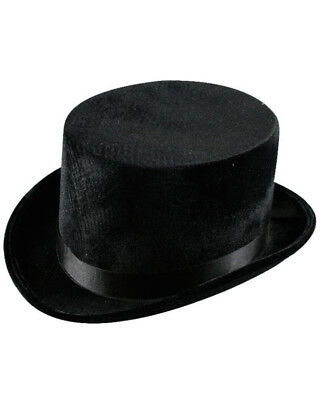 Black Velvet High Top Hat One Size
