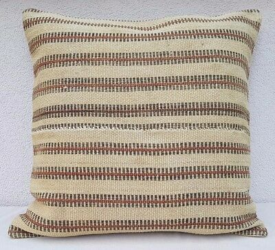 24x24'' French Grainsack Big Kilim Pillow Cover, Burlap Pillow, Farmhouse Pillow
