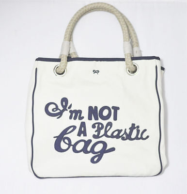 Original Anya Hindmarch - I'm NOT A Plastic Bag Cotton Canvas Navy / Blue Tote