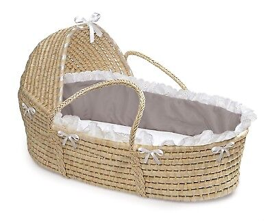 Natural Baby Infant Moses Basket w/Hood & Grey/White Bedding NEW