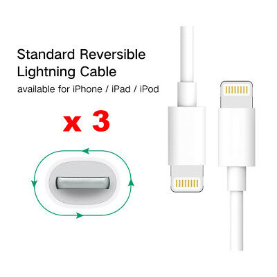 3 x USB Data Charging lightning Cable Charger cord for Apple iPhone iPad