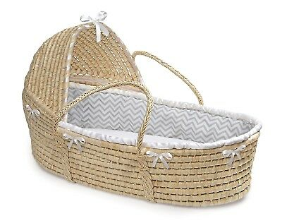 Natural Baby Infant Moses Basket w/Hood & Grey & White Chevron Liner NEW