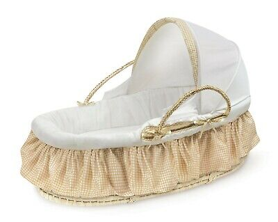 Baby Infant Natural Moses Basket w/Fabric Canopy & Beige Gingham Bedding NEW