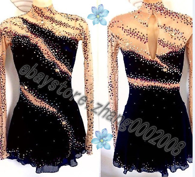 Ice Figure Skating Dress.Black Competition Twirling Baton Dance Tap Costume