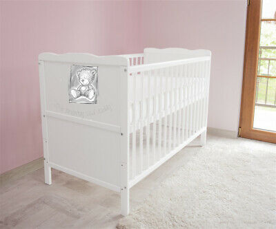 Wooden Baby Cot Bed ✔ Converts to Junior Bed✔Mattress - I love Mummy and Daddy 1