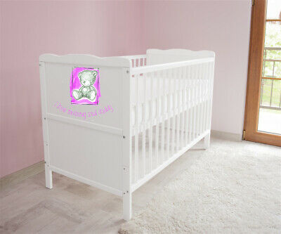 Wooden Baby Cot Bed ✔ Converts to Junior Bed - I love Mummy and Daddy 2