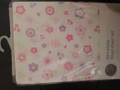 Flannelette fitted sheet set for Cot