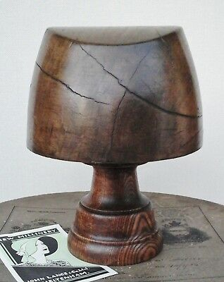 Original Victorian Wooden Hat Block/Form & Stand, Millinery Display, Collectable