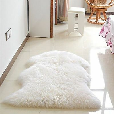 AU Ultra Soft Faux Fur Wool Rug Fluffy Mat Hairy Washable Nature Carpet Bedroom