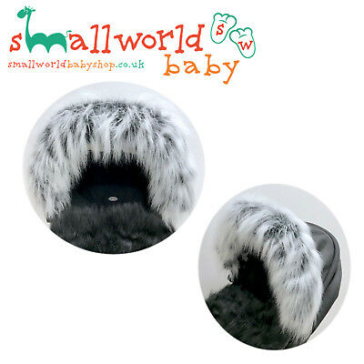 Boys Girls Grey Fur Pram Pushchair Hood Trim Accessory (NEXT DAY DISPATCH)