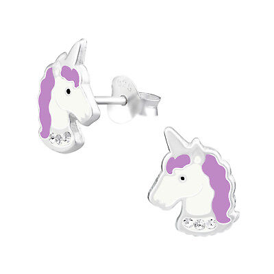 925 Sterling Silver Crystal White Light Purple Unicorn Kids Girls Stud Earrings