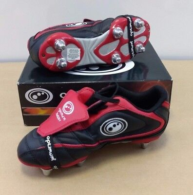Optimum Blaze (6 Stud Junior) Rugby Boots Black/red/white Uk Size 4