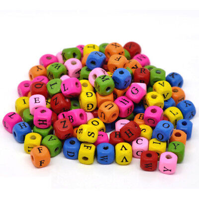 500 Pcs Mixed Alphabet / Letter Cube Wood Beads 10x9mm N8E5 U4X8 L0C5 E7V0 Q0 CQ