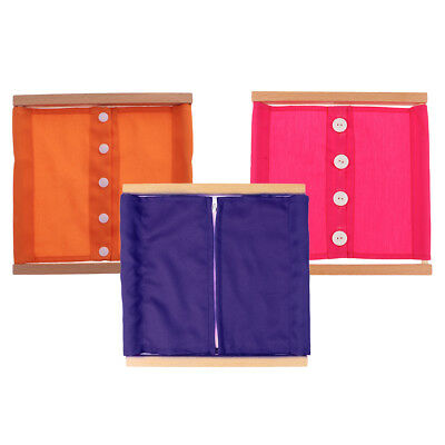 3PCS Kid Wooden Frame Clothing Dressing Zipper Montessori Preschool Teaching