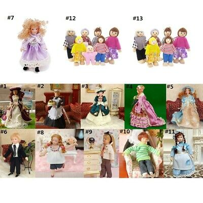 1:12 Dollhouse Miniature Figures Porcelain/Wooden Dolls Family People with Stand